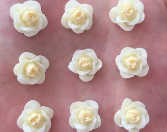 Ivory flower cabochons, 14mm