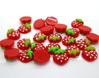 Strawberry embellishments, set of 20