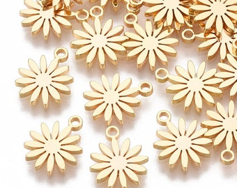 Sunflower charm x 2, 18k gold plated