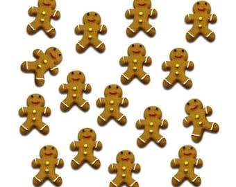 Gingerbread man resin cabochons, 21mm