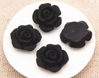 Matt black flower cabochon, 13mm resin