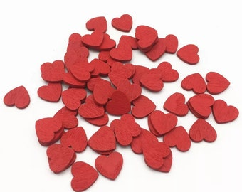 Wood heart embellishments, 12mm red hearts