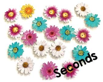 Wooden flower buttons 34mm, slight seconds