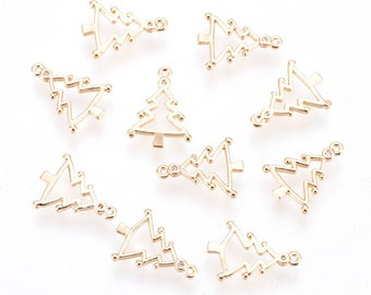 Christmas tree 18k gold plated charm x 2