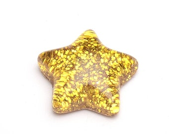 Gold star cabochons, 16mm