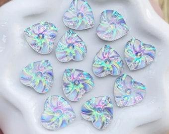 Rhinestone heart cabochons, silver 10mm