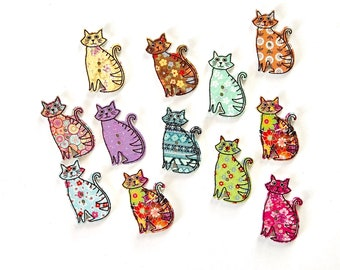 Wooden cat buttons mixed colours, set of 12
