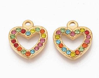 Heart pendant with rhinestones, gold tone
