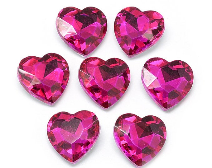 Featured listing image: Pink glass faceted hearts, 8mm