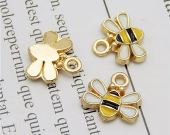 Bee charms, tiny enamel bee charms, 10mm
