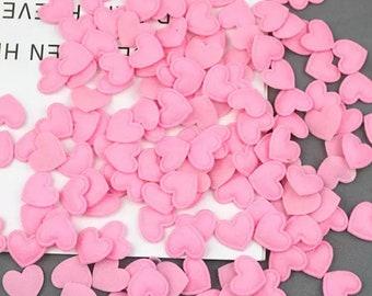 Heart shaped pink felt fabric embellishments, 17mm