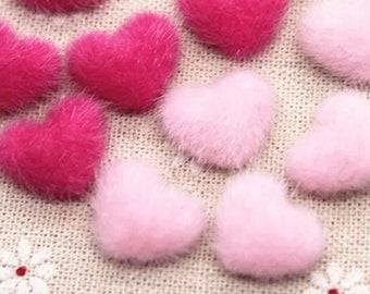 Fluffy heart embellishments, pink 17mm