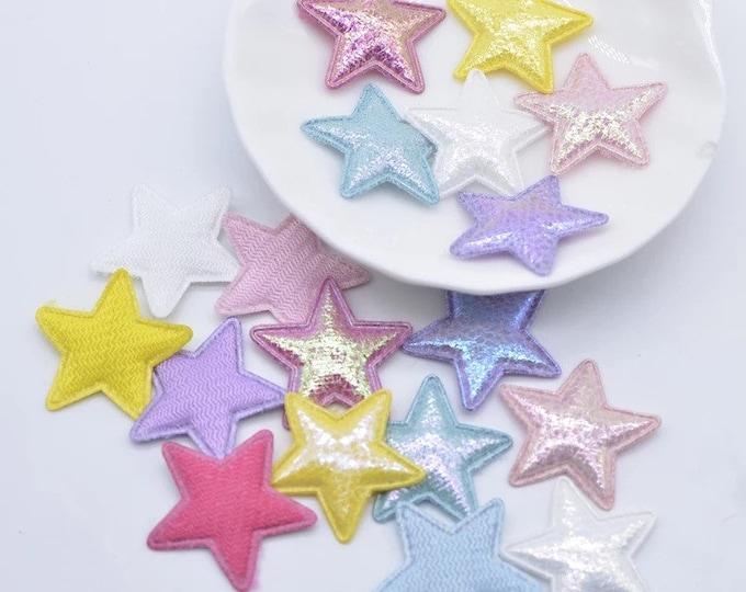 Featured listing image: Star fabric glitter appliqués, padded fabric 25mm stars