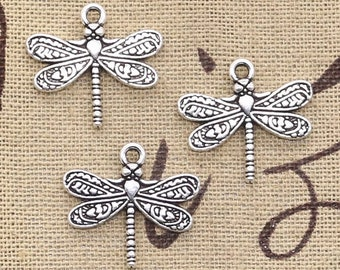 Dragonfly Charms, set of 2, antique silver tone