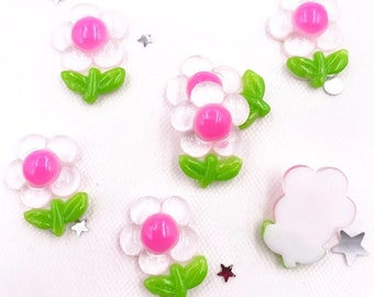 Flower cabochons 22mm white and pink