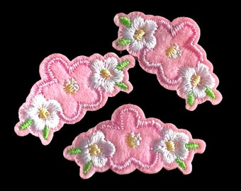 Mini pink and white flower patch x 2