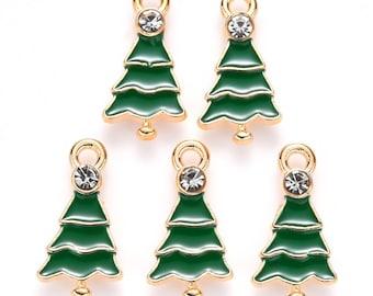 Christmas tree charms, 21mm enamel