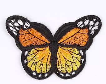 Orange embroidered butterfly patch 5cm x 7cm