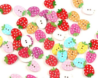 Strawberry wooden buttons- set of 15