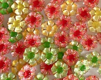 Flower embellishments, citrus mix glass effect