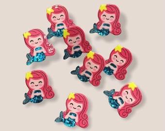 Mermaid resin cabochons, set of 5