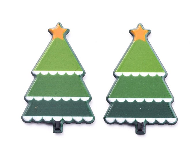 Featured listing image: Christmas tree acrylic cabochons, 30mm
