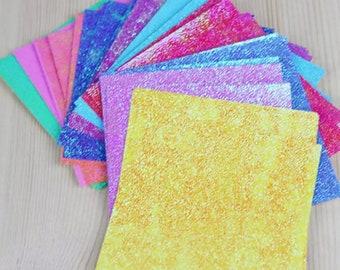 Shimmery origami paper bundle, 10cm x 10cm square