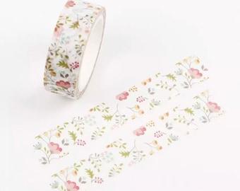 Pastel flowers washi tape roll, 7m
