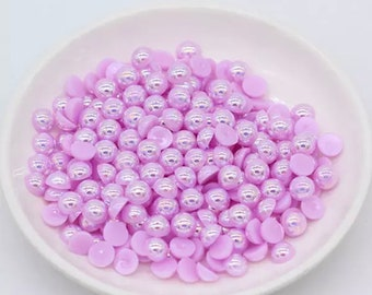 Pearl effect half round cabochons, 8mm lilac