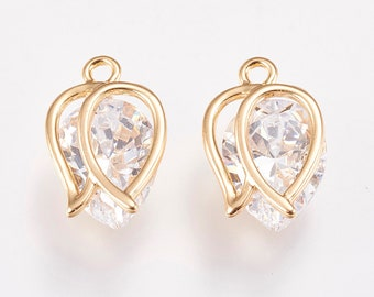 Clear glass and gold charms x 2, 18k gold plated