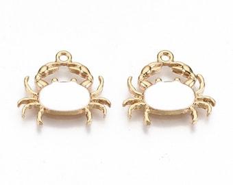 Crab enamel charms, 20mm white