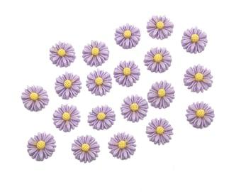 Lilac daisy cabochons, 13mm
