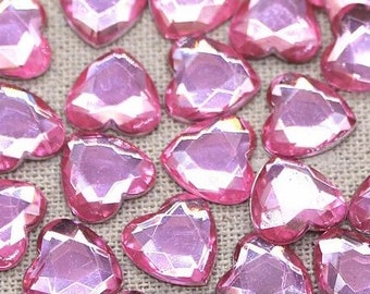 Pink heart embellishments, pale pink 10mm