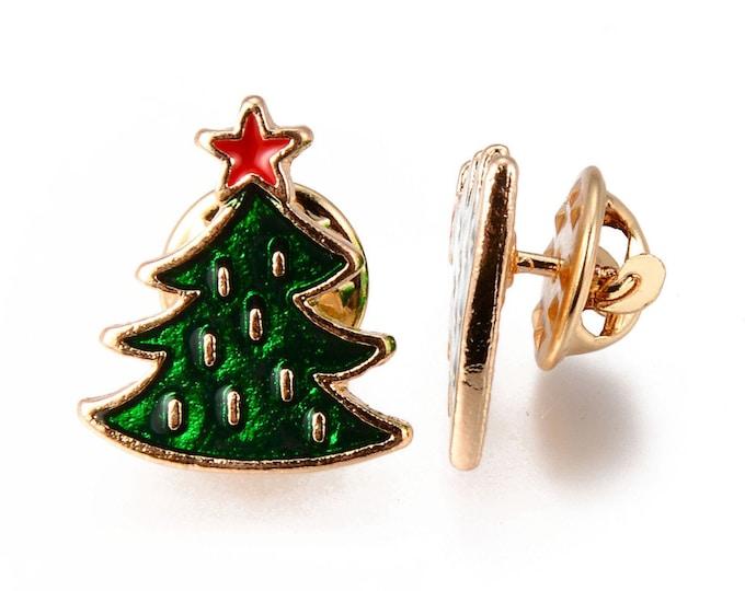 Featured listing image: Christmas tree enamel pin badge,