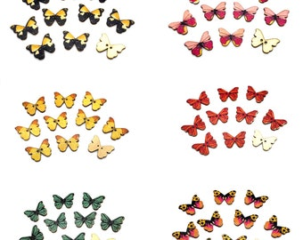 Wooden butterfly buttons, single colour set