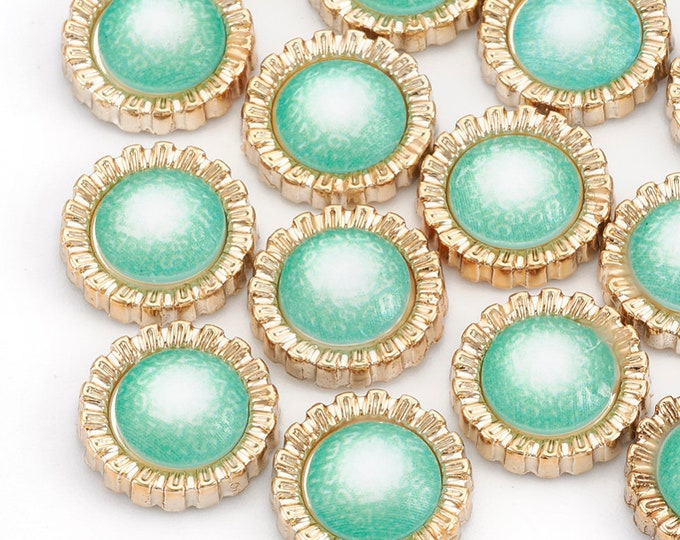 Featured listing image: Pearl effect green round cabochons, 12mm