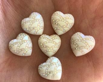 Cream heart rhinestone cabochons, 12mm