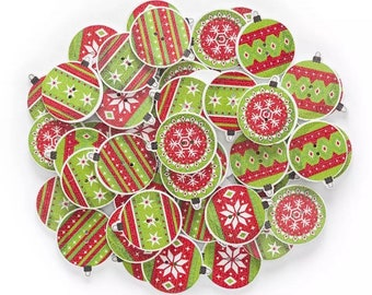 Christmas bauble buttons, 23mm