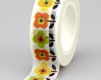 Yellow flower washi tape roll, 10m