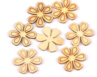 Wooden flower embellishments, 21mm natural