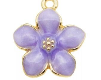 lilac enamel flower charm x 2