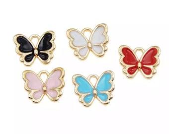 Butterfly enamel charms x 2