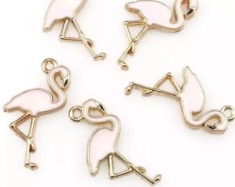 Flamingo pink enamel charms, set of 2