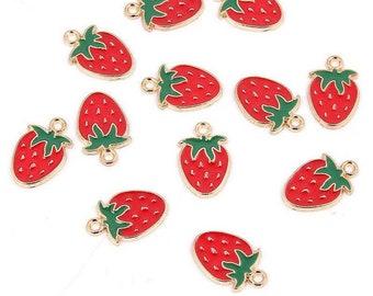 Strawberry enamel charms x 2