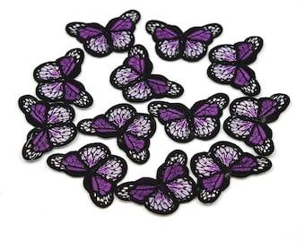 Purple mini butterfly patch x2