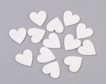Wooden white heart embellishments, 20mm