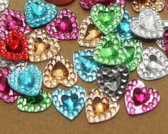 Heart rhinestone embellishments, 8mm