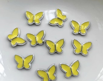 Yellow resin butterfly cabochons, 12mm