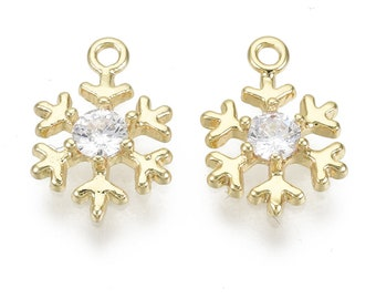Snowflake charm, 18k gold plated snowflake charm, 12mm cubic zirconia charm, xmas earring charms, gold and gemstone Christmas charms