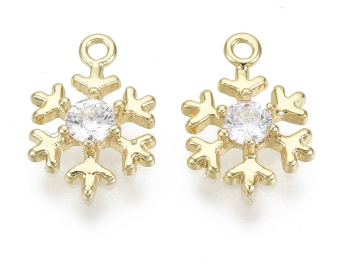Featured listing image: Snowflake charm, 18k gold plated snowflake charm, 12mm cubic zirconia charm, xmas earring charms, gold and gemstone Christmas charms